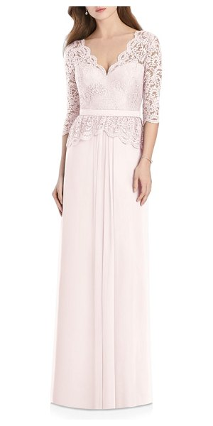 Jenny Packham lux lace & chiffon column gown in pink