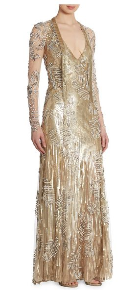 JENNY PACKHAM sequin beaded gown - Sequin embellished gown with gorgeous beading.V-neck....