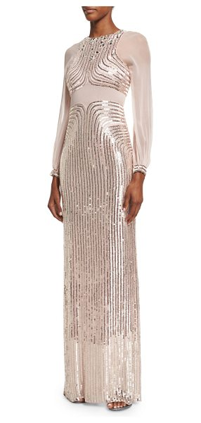 Jenny Packham Sequined Long-Sleeve Column Gown in ballet pink