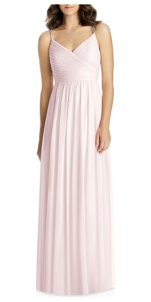 Jenny Packham V-Neck Beaded-Strap Lux Chiffon Ruched Bodice Bridesmaid Gown in blush