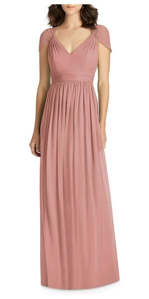 Jenny Packham V-Neck Cap-Sleeve Lux Chiffon Column Bridesmaid Gown w/ Cutout Back in desert rose