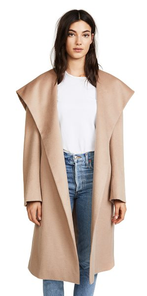 JENNY PARK elysia flared collar coat in beige - A sophisticated JENNY PARK coat in a plush wool-cashmere...