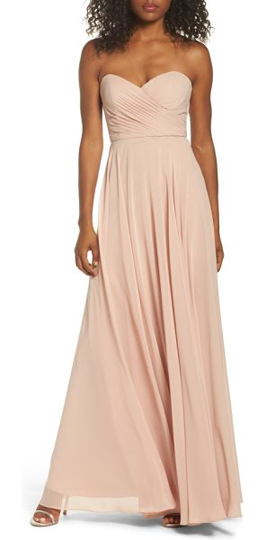Jenny Yoo adeline strapless chiffon gown in desert rose - Layers of diaphanous chiffon shape the fitted,...