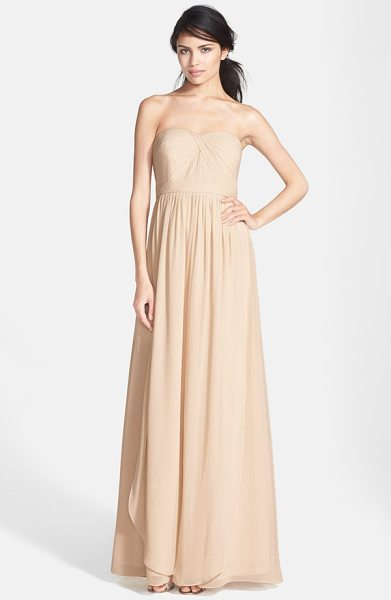Jenny Yoo 'aidan' convertible strapless chiffon gown in champagne - A knotted twist shapes the pleated sweetheart bodice of...