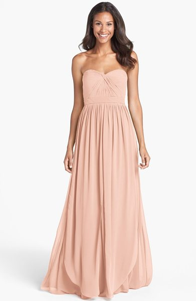 Jenny Yoo aidan convertible strapless chiffon gown in blush - A knotted twist shapes the pleated sweetheart bodice of...