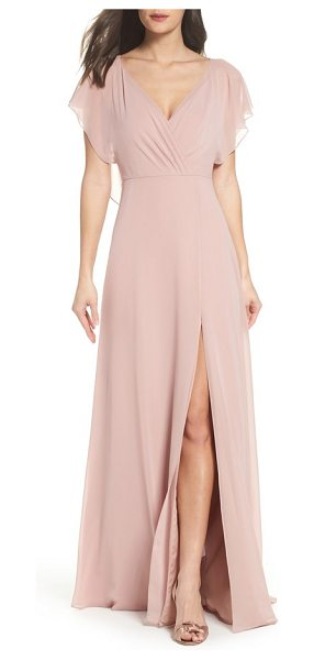 Jenny Yoo alanna open back chiffon gown in whipped apricot - Fluttery ruffles cascade from the shoulders of this...