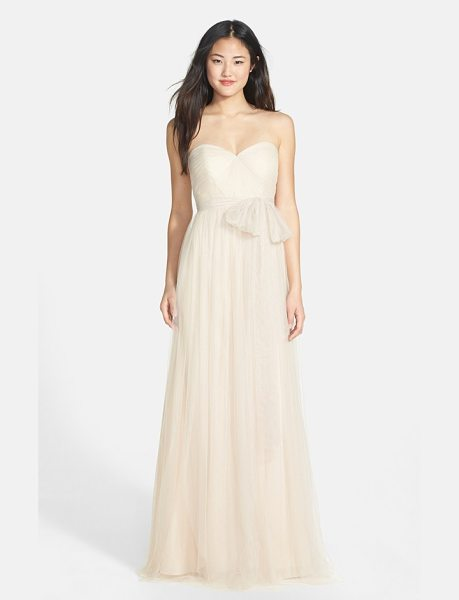 Jenny Yoo annabelle convertible tulle column dress in cashmere - Ethereal tulle overlays a wispy strapless gown designed...
