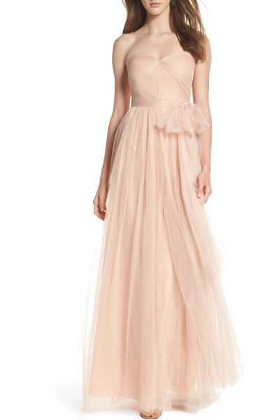 Jenny Yoo annabelle convertible tulle column dress in pink - Ethereal tulle overlays a wispy strapless gown designed...
