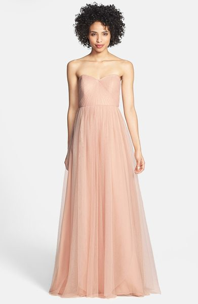 Jenny Yoo annabelle convertible tulle column dress in cameo pink - Ethereal tulle overlays a wispy strapless gown designed...