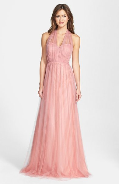 Jenny Yoo annabelle convertible tulle column dress in begonia pink - Ethereal tulle overlays a wispy strapless gown designed...