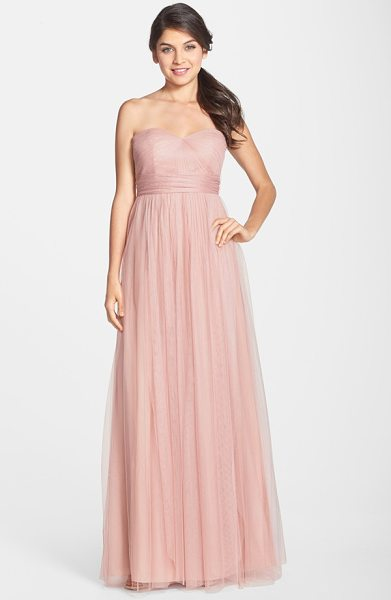 Jenny Yoo annabelle convertible tulle column dress in whipped apricot - Ethereal tulle overlays a wispy strapless gown designed...