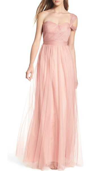 JENNY YOO annabelle convertible tulle column dress - Ethereal tulle overlays a wispy strapless gown designed...