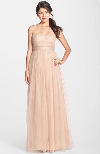 Jenny Yoo annabelle convertible tulle column dress in tuscan beige - Ethereal tulle overlays a wispy strapless gown designed...