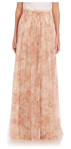 Jenny Yoo arabella printed tulle maxi skirt in blushmulti - Flowing A-line skirt in feminine printed tulle. Banded...