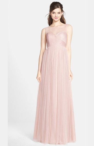 Jenny Yoo aria illusion yoke pleated tulle gown in whipped apricot - This timeless gown is soft and romantic in ethereal...