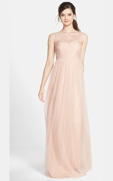 Jenny Yoo aria illusion yoke pleated tulle gown in cameo pink - This timeless gown is soft and romantic in ethereal...