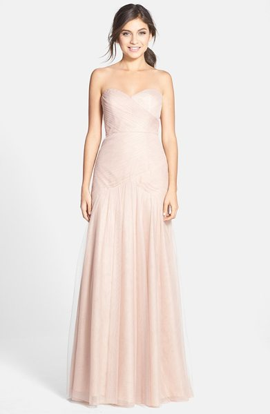 Jenny Yoo ava cross paneled tulle gown in tuscan beige - Tightly pleated panels meeting at the natural waist wrap...