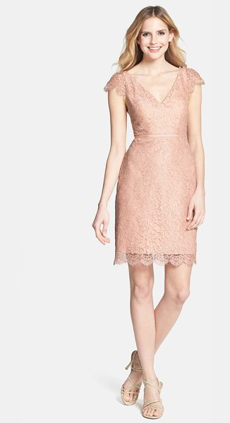 Jenny Yoo bridgitte cap sleeve lace sheath dress in blush - Gilt-kissed lace gleams over a cap-sleeve sheath...
