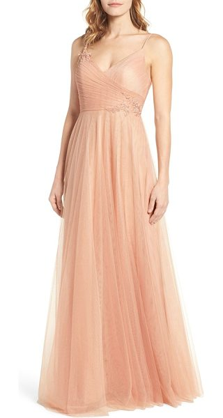 Jenny Yoo brielle tulle gown in cameo pink - Ethereal tulle overlays a romantic gown with a fitted...