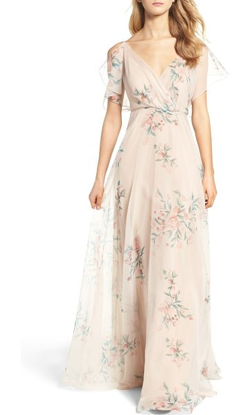 Jenny Yoo cassie flutter sleeve surplice gown in blush chai - Feather-light and printed with painterly floral bursts,...