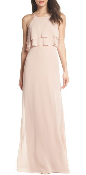 Jenny Yoo charlie ruffle chiffon gown in desert rose - Fluttery panels drape from the bodice to cap off the...