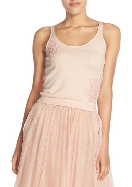 Jenny Yoo cora lace detail tank in blossom - Floral lace appliques at the neckline and side bring...
