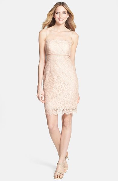 Jenny Yoo cosette lace dress in blush - Gilt-kissed lace gleams over an Empire-waist sheath...