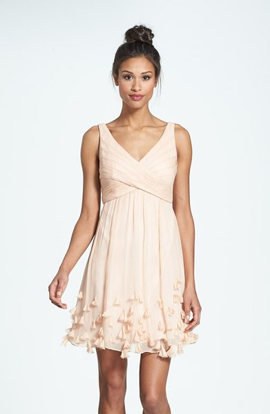 Jenny Yoo crinkled silk chiffon dress in blush - Crisscrossed panels wrapping the Empire bodice lend...
