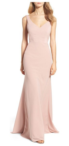 Jenny Yoo delaney tie back v-neck gown in whipped apricot - Secured in back by a dramatic tie, the fitted bodice of...