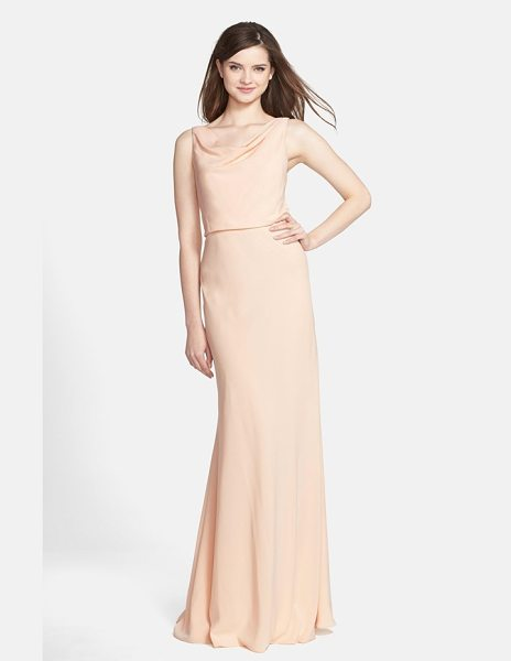 Jenny Yoo drape neck crepe de chine gown in buff - Fluid crepe elegantly drapes the figure in this serene...