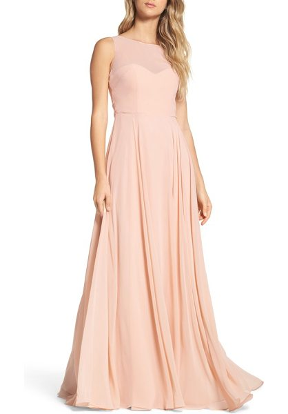 Jenny Yoo elizabeth chiffon gown in blush - A demure chiffon gown features an illusion neckline,...