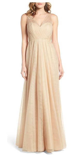 Jenny Yoo emelie illusion gown in cashmere - Graceful gathers of sheer tulle embellish the neckline...