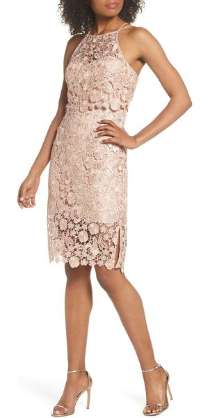 Jenny Yoo freya lace sheath dress in cameo pink - A charming dress cut from delicate floral lace features...
