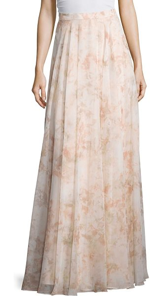 Jenny Yoo hampton print chiffon skirt in blush multi - Graceful skirt fashioned in a A-line silhouette. Banded...