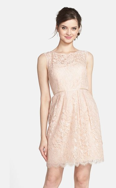 Jenny Yoo harlow lyon gilded lace dress in blush/ gold - Gilded lace catches the eye in this sweet sleeveless...