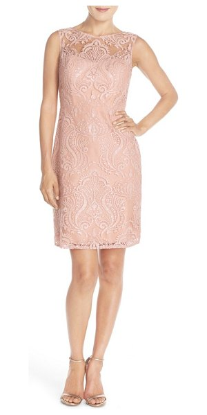 Jenny Yoo 'harper' sequin lace sleeveless sheath dress in blush - Glittering sequin embroidery enhances the radiant...