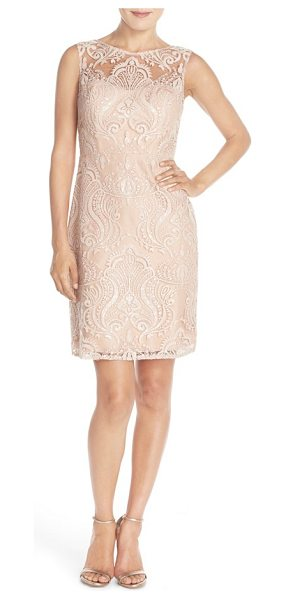 Jenny Yoo harper sequin lace sleeveless sheath dress in blush - Glittering sequin embroidery enhances the radiant...