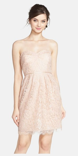 Jenny Yoo hudson lyon strapless gilded lace dress in blush/ gold - Gilded lace catches the eye in this sweet strapless...