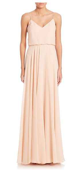Jenny Yoo inesse chiffon gown in blush - Flowing chiffon gown in blouson silhouette.V-neck....