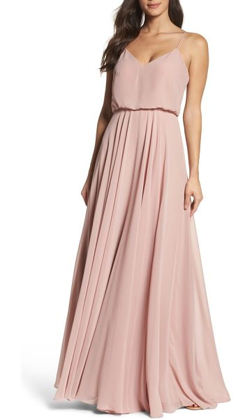 Jenny Yoo inesse chiffon v-neck spaghetti strap gown in pink - Slender straps that span the shoulders and meet in a V...