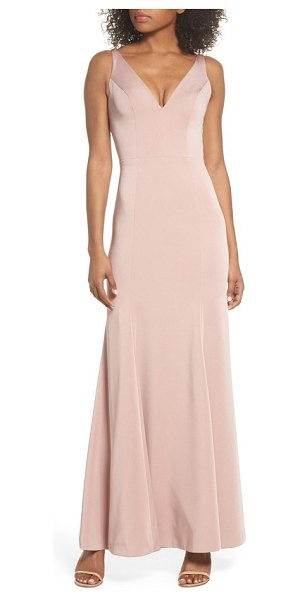 Jenny Yoo jade luxe crepe v-neck gown in whipped apricot - Carefully seamed to follow the figure, a luxurious crepe...