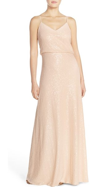 Jenny Yoo 'jules' sequin blouson gown with detachable back cowl in french vanilla - Allover sequins catch the eye on a slinky V-neck gown...