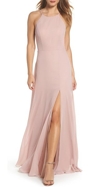 Jenny Yoo kayla a-line halter gown in whipped apricot - Fitted with princess seams at the bodice and flared to a...