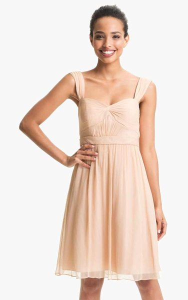 Jenny Yoo keira convertible strapless chiffon dress in blush - A knotted twist shapes the pleated sweetheart bodice of...