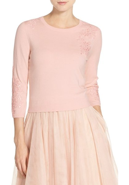 JENNY YOO lace applique crewneck sweater in blossom - A charming change of pace for cool-weather weddings, a...