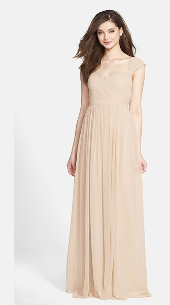 Jenny Yoo 'leah' convertible chiffon gown in champagne - A crisscrossed sweetheart bodice, defined waist and...
