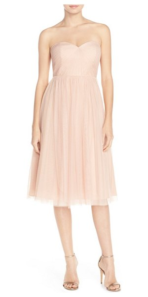 JENNY YOO 'maia' convertible tulle tea length fit & flare dress - Ethereal tulle overlays a dreamy, strapless midi dress...