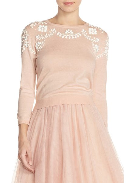 Jenny Yoo 'millie' beaded cotton blend sweater in blush - Lavish, vintage-inspired beadwork drapes the yokes and...