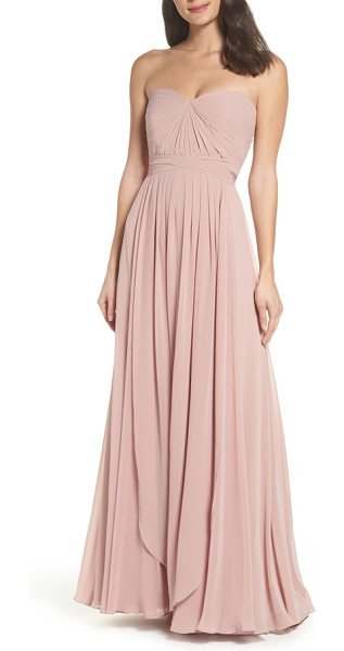 JENNY YOO mira convertible strapless chiffon gown - Meticulous pleating shapes the fitted sweetheart bodice...