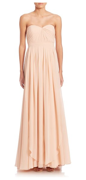 Jenny Yoo mira convertible strapless gown in blush - Feminine strapless gown in A-line silhouette. Sweetheart...